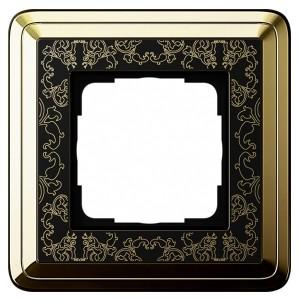 Рамка 1-ая Gira ClassiX Art Латунь/Черный