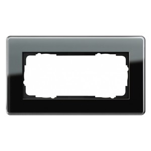 Рамка 2-я без перегородки Gira Esprit Glass C Черное стекло