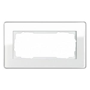 Рамка 2-я без перегородки Gira Esprit Glass C Белое стекло