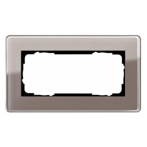 Рамка 2-я без перегородки Gira Esprit Glass C Дымчатое стекло