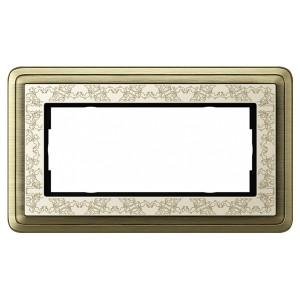 Рамка 2-я без перегородки Gira ClassiX Art Бронза/Кремовый