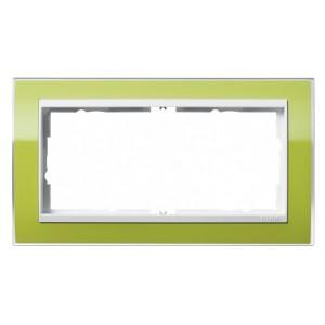Рамка 2-ая без перегородки Gira Event Clear Зеленый цвет вставки Белый глянцевый