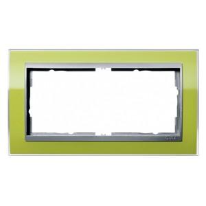 Рамка 2-ая без перегородки Gira Event Clear Зеленый цвет вставки Алюминий