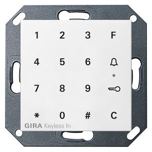 Цифровой кодовый замок Gira System 55 + E22 глянцевый белый