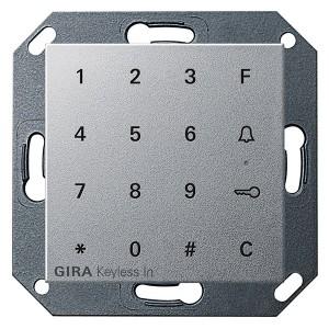 Цифровой кодовый замок Gira System 55 алюминий