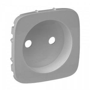 Valena ALLURE. Лицевая панель силовой розетки 2К без заземления. Алюминий