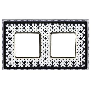 Рамка 2-ная Fede Belle Epoque Porcelain, black lys-bright chrome