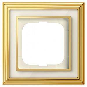 Рамка 1-постовая АВВ Династия, Латунь полированная/белое стекло (1721-838-500)