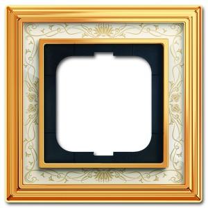 Рамка 1-постовая АВВ Династия, Латунь полированная/белая роспись (1721-836-500)