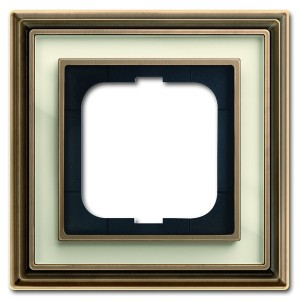 Рамка 1-постовая АВВ Династия, Латунь античная/белое стекло (1721-848-500)