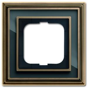 Рамка 1-постовая АВВ Династия, Латунь античная/черное стекло (1721-845-500)