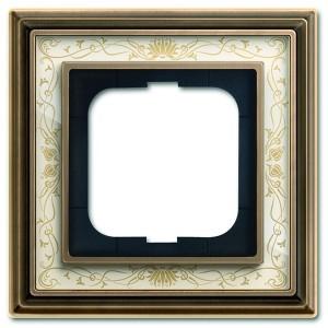 Рамка 1-постовая АВВ Династия, Латунь античная/белая роспись (1721-846-500)