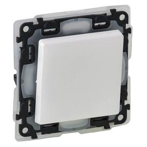 Выключатель IP44 10А 250В с лицевой панелью.безвинтовые зажимы Legrand Valena LIFE, белый