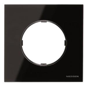 Рамка 1 пост  АВВ SKY Moon, стекло чёрное (8671 CN)