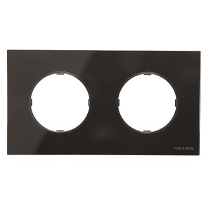 Рамка 2 поста   АВВ SKY Moon, стекло чёрное (8672 CN)