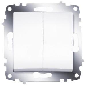 Выключатель двухклавишный ABB Cosmo белый