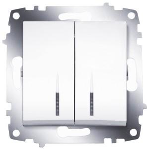 Выключатель двухклавишный с подсветкой ABB Cosmo белый