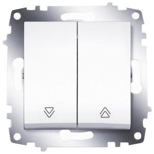 Выключатель двухклавишный для управления жалюзи ABB Cosmo белый