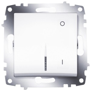 Выключатель двухполюсный с подсветкой ABB Cosmo белый