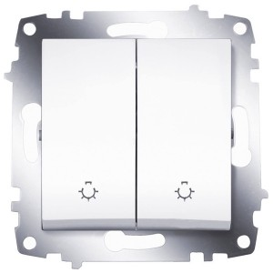 Выключатель двухклавишный с контрольной подсветкой ABB Cosmo белый