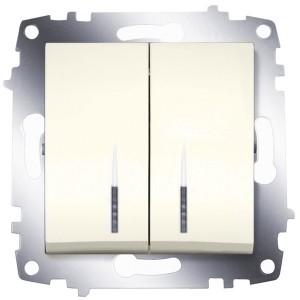 Выключатель двухклавишный с подсветкой ABB Cosmo кремовый