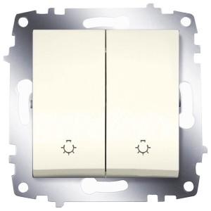 Выключатель двухклавишный с контрольной подсветкой ABB Cosmo кремовый