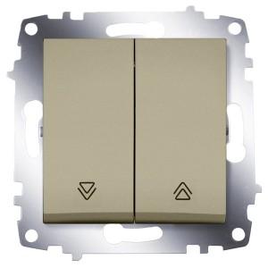 Выключатель двухклавишный для управления жалюзи ABB Cosmo титаниум