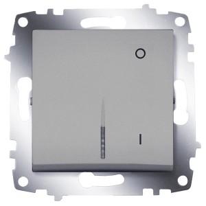 Выключатель двухполюсный с подсветкой ABB Cosmo алюминий