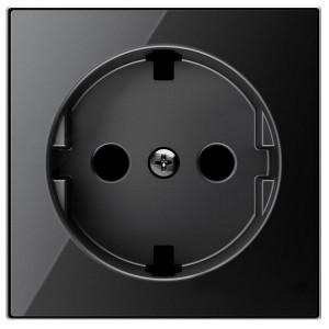 Накладка для розетки SCHUKO с плоской поверхностью ABB Sky, стекло чёрное (8588.9 CN)