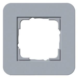 Рамка 1-ая Gira E3 Soft-Touch Серо-голубой с белой глянцевой несущей рамкой