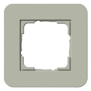 Рамка 1-ая Gira E3 Soft-Touch Серо-зеленый с белой глянцевой несущей рамкой