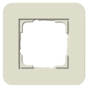 Рамка 1-ая Gira E3 Soft-Touch Песочный с белой глянцевой несущей рамкой