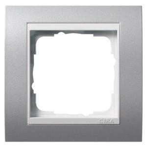 Рамка 1-ая Gira Event Алюминий цвет вставки Белый глянцевый