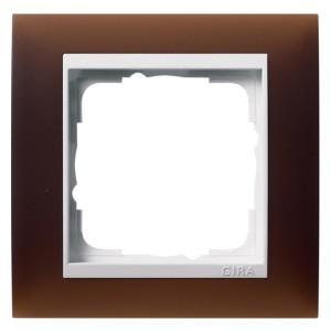 Рамка 1-ая Gira Event Матово-Темно-Коричневый цвет вставки Белый глянцевый