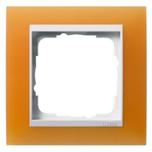 Рамка 1-ая Gira Event Матово-Оранжевый цвет вставки Белый глянцевый