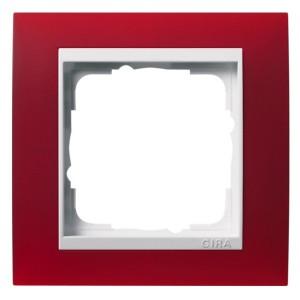 Рамка 1-ая Gira Event Матово-Красный цвет вставки Белый глянцевый