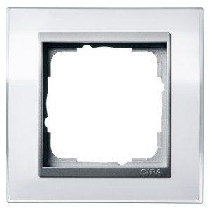 Рамка Gira Event Clear Белый 1 пост цвет вставки Алюминий