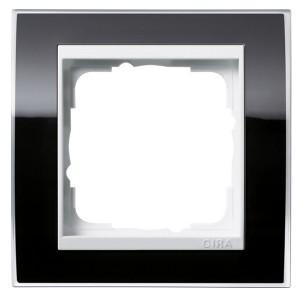 Рамка 1-ая Gira Event Clear Черный цвет вставки Белый глянцевый
