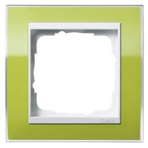 Рамка 1-ая Gira Event Clear Зеленый цвет вставки Белый глянцевый