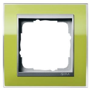 Рамка Gira Event Clear Зеленый 1 пост цвет вставки Алюминий