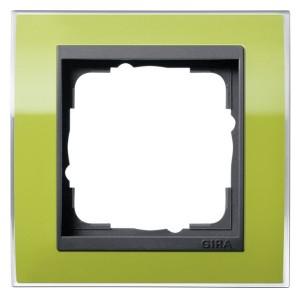 Рамка Gira Event Clear Зеленый 1 пост цвет вставки Антрацит
