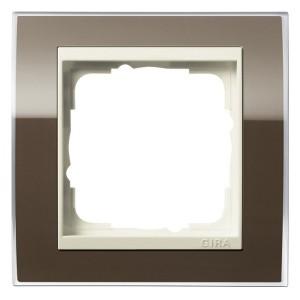 Рамка 1-ая Gira Event Clear Коричневый цвет вставки Кремовый глянцевый