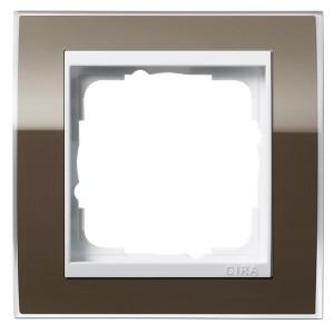 Рамка 1-ая Gira Event Clear Коричневый цвет вставки Белый глянцевый