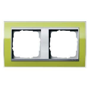 Рамка Gira Event Clear Зеленый 2 поста цвет вставки Алюминий