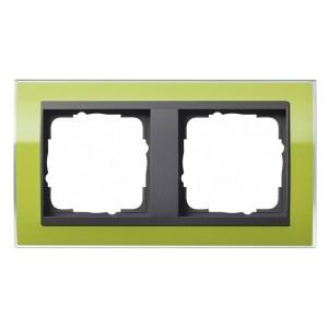 Рамка Gira Event Clear Зеленый 2 поста цвет вставки Антрацит