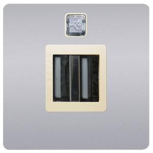 Зарядное устройство 2хUSB 2А Fede Bright Chrome/бежевый