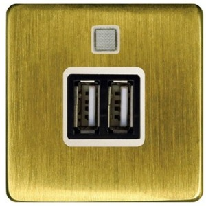 Зарядное устройство 2хUSB 2А Fede Bright Patina/бежевый