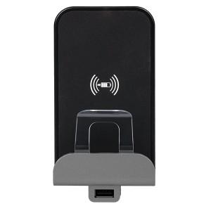 Беспроводное зарядное устройство Qi 1А с доп.разьемом USB A 5В 2,4А. Legrand Etika алюминий