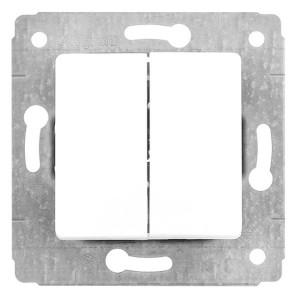 Двойной переключатель на 2 направления  двухклавишный автоматические клеммы Legrand Cariva белый