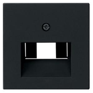 Накладка 1-ой и 2-ой наклонной тлф/комп розетки System 55 Gira Черный матовый